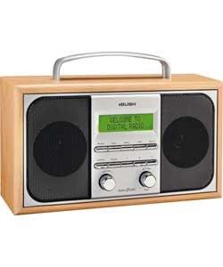 BUSH DAB/FM Radio with light wood cabinet.