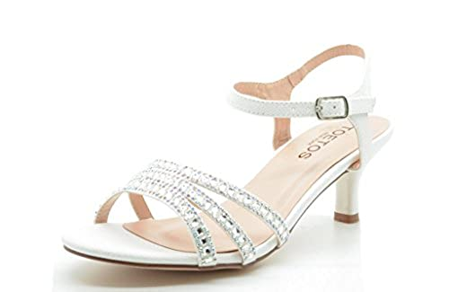 06. TOETOS BERK-175 Women's Summer Ankle Strap Rhinestones Open Toe Classic Low Heel Sandals Shoes New