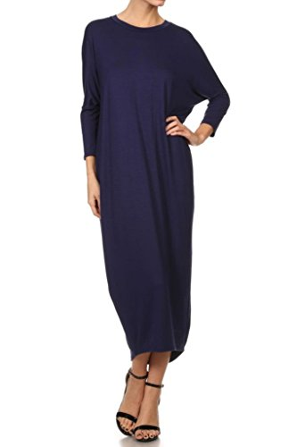 12 Ami Solid Long Sleeve Cover-Up Maxi Dress Navy Large