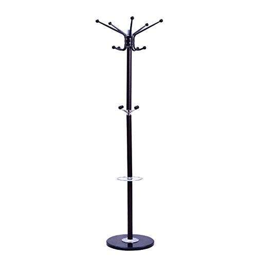 Tenive Entryway Standing Rotating Metal Coat Hat Rack Stand with Umbrella Holder , 70
