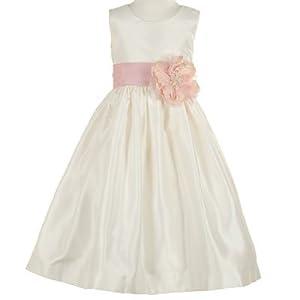 Little Girls Special Occasion PINK ROSE Flower Girl IVORY Dress Wedding 2-6
