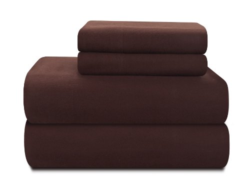 Pointehaven Heavy Weight 100-Percent Cotton Flannel Twin Extra Large Sheet Set, Chocolate front-11164