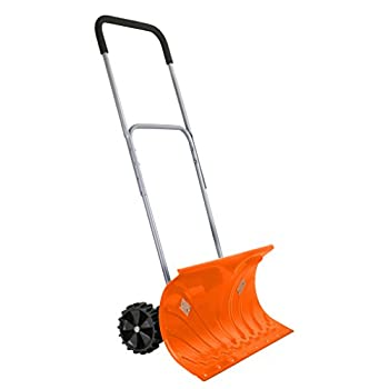 Ivation Heavy Duty Rolling Snow Pusher / Shovel 26