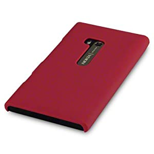 NOKIA LUMIA 900 SOLID RED HYBRID RUBBERISED BACK COVER CASE, IN QUBITS RETAIL PACKAGING