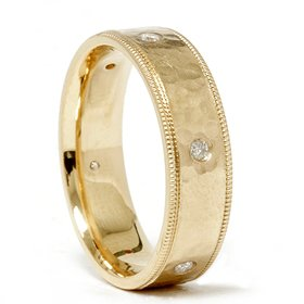 Mens 14kt Genuine Diamond Ring Hammered Finish Wedding Band 14K Yellow Gold