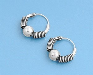 Sterling Silver Rope & Bead Bali Hoop Earrings 13MM