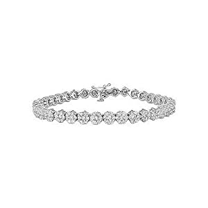 4.00cttw Natural White Round Diamond (I1-I2-Clarity,G-H-Color) Cluster Bracelet in 14K White Gold.