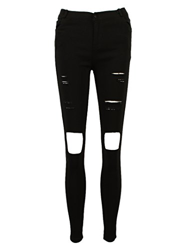 Allbebe Black Skinny Jeans with Ripped Leg chic women s ripped skinny jeans