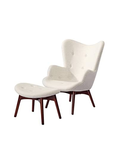 Kardiel Grant Contour Style Wing Chair and Ottoman, Heather White