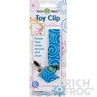 Rich Frog Toy Clip or Pacifier Holder - Pink, Blue or Orange (Blue)
