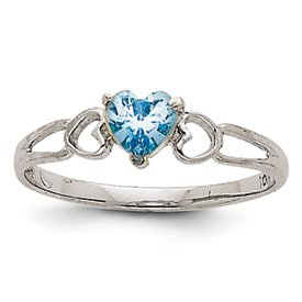 Genuine IceCarats Designer Jewelry Gift 14K White Gold Aquamarine Birthstone Ring Size 6.00