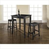 Crosley Furniture KD320004BK 3 Piece Pub Dining Set with Cabriole Leg and Upholstered Saddle Stools in Black Finish