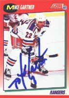 Mike Gartner, New York Rangers, 1991 Score Autographed Card