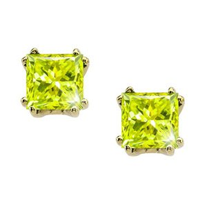 Modern Twin-Prong Princess Cut 14K Yellow Gold Stud Earrings with Greenish-Yellow Diamond 2 carats each Princess cut