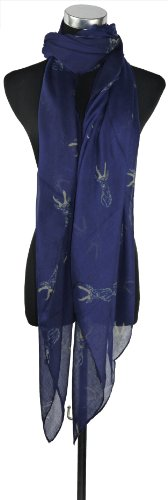 Large Blue with White Deer Head Print, Chiffon Scarf or Sarong