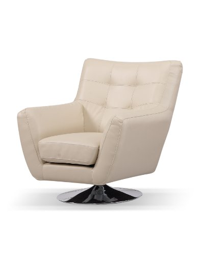 Capella Real and Faux Leather Eros Swivel Chair with Metal Base, Cream
