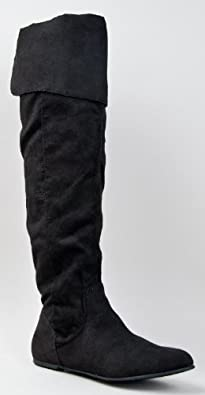 Qupid PROUD-09 Cuff Over the Knee Thigh High or Knee High Slouchy Flat Boot,Proud-09 Black Su 5.5