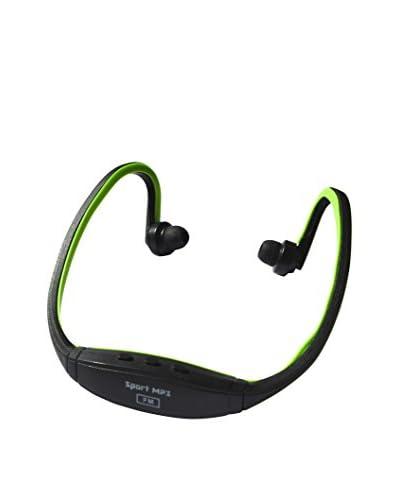 Auricular Sport Mp3 Con Entrada De Micro Sd Negro / Verde