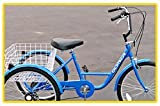"Made in Taiwan! Gomier T6 Adult Tricycle - Blue, High Quality Made in Taiwan, Shimano Tourney 6-speed shifter & derailleur. 24"" wheels."