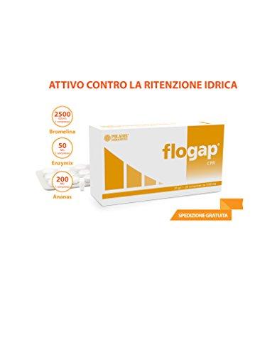 Flogap 20 compresse da 1 gr. Bromelina 2500GDU/g Enzymix 50 mg Ananas 200 mg Anticellulite Ritenzione Idrica Drenante Cellulite Polaris Farmaceutici