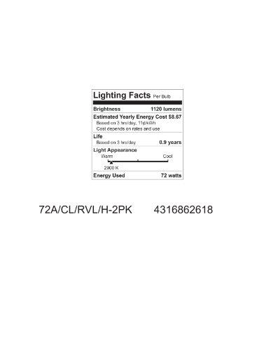 GE Lighting 62618 Reveal Clear 72-Watt (100-watt replacement) 1120-Lumen A19 Light Bulb with Medium Base, 2-Pack
