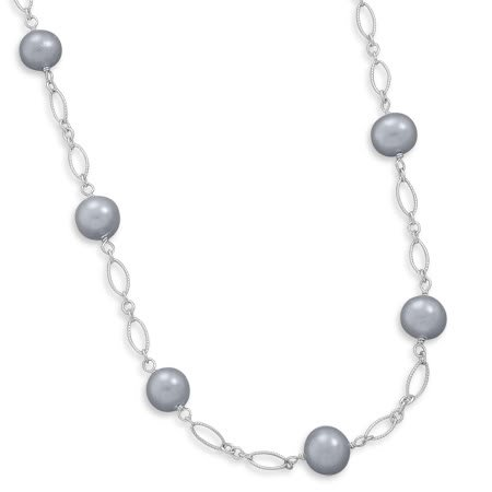 16+1.5 Silver Cultured Freshwater Pearl Necklace
