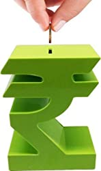 Tuelip Indian Rupee Shape Money Bank / Piggy bank / Coin Bank (Green)