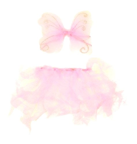 Adorable Baby Girl Fairy Set Includes Glittery Wings And Sheer Hair Elastics/Tiesated Tutu In Pink