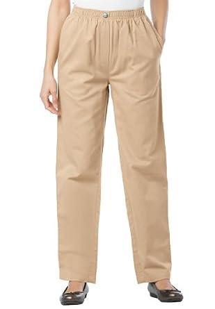 Women's Plus Size Petite jean, pull on, elastic waist (KHAKI,14 WP)
