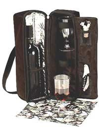 Picnic Gift - PGI-2025GR2 - Solana Picnic Insulated Wine Tote - Green & Grapevine Napkins - 10 W x 14 H in.
