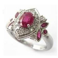 Ruby & Diamond Engagement Cluster Ring Vintage Marquise Style Platinum
