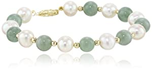 14k Yellow Gold Green Jade Bead and Freshwater Pearl Bracelet, 7.5