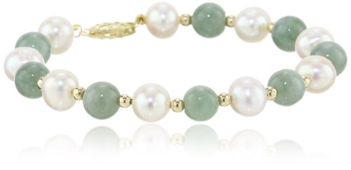 14k Yellow Gold Green Jade Bead and Freshwater