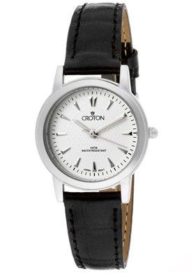 Croton Women's CROTON-CN207381BSDW Black/White Textured Genuine Leather Watch