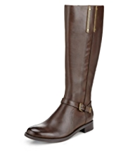 Autograph Faux Snakeskin Strap Riding Boots with Insolia Flex® & Stretch Zip