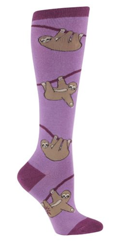 Sock It To Me SLOTH Womens Knee Socks Purple