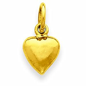 14k Solid Polished 3-Dimensional Medium Heart Charm
