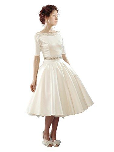 Dressesinstock Women'S 2015 Ball Gown Taffeta Tea Length Wedding Dress 6 White