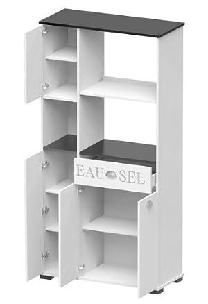 MD1 Suarez - Credenza alta, con 1 cassetto e 3 ante, 900 x 400 x 180 cm, colore bianco/grigio