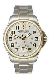 Victorinox Swiss Army Officer's Two-Tone Bracelet Silver Dial Men's Watch #241362