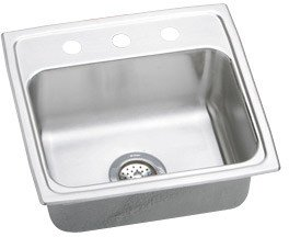 Elkao|#Elkay MLR19192 Elkay 18 Gauge 316 SS Stainless Steel 19.5 Inch x 19 Inch x 7.5 Inch single Bowl Top Mount Kitchen Sink, 2 Faucet Holes,