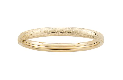 14k Yellow Gold Filled Children's Heart Pattern Guard and Hinge Bangle Bracelet