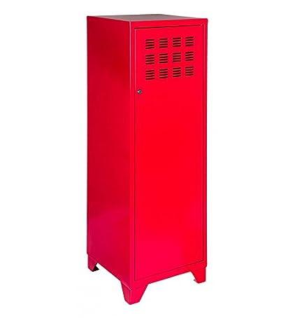 Meuble de rangement à porte en métal rouge