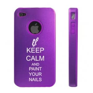Apple iPhone 4 4S Purple D4184 Aluminum & Silicone Case Cover Keep Calm and Paint Your Nails