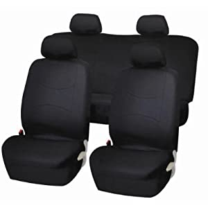 Universal Full Set OF Car Seat Covers - Solid Black UAA002 by U.A.A. INC.