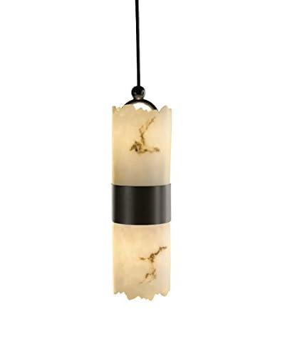 Justice Design Group LumenAria Dakota Small Up & Down Pendant Light, Dark Bronze/Alabaster