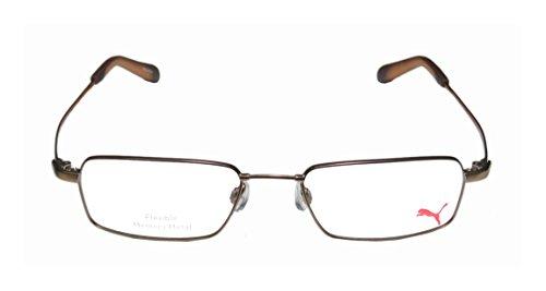 puma-15319-zone-1-mens-womens-rectangular-full-rim-eyeglasses-eyewear-52-18-145-brown