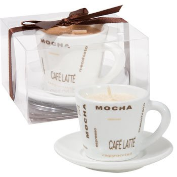 Decorative Coffee Scented Candle in Expresso Cup and Saucer Gift Set - 2-Pack (Vanilla)
