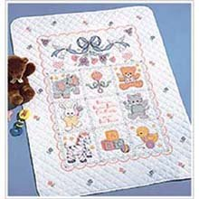 """Bucilla Babies Are Precious Crib Cover Stamped Cross Stitch Kit-34""""X43"""" front-83280"""