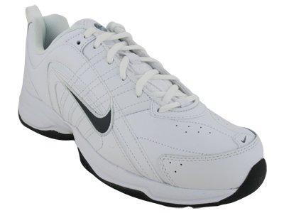 Nike Men's NIKE T-LITE VIII LEATHER RUNNING SHOES 8.5 (WHITE/DARK OBSIDIAN
